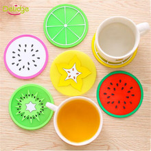 Delidge 1pc 9 cm Fruit Table Mat Cute Colorful Silicone round watermelon lemon orange Coaster Cup Cushion Heat Resistant Pad