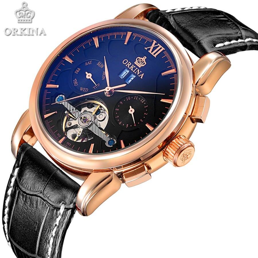 Tourbillon Mechanical Watch Leather Band Sport Wristwatch Men Brand Fashion Waterproof Watches One week calendar month function<br>