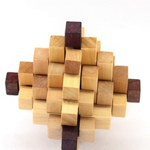 Wood Toys Children Magic Cube Intelligence Lock Intelligence Building Assembling Blocks
