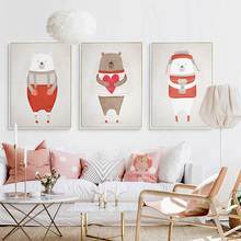 Red Bear Cartoon Animals Canvas Art Print Painting Poster Wall Picture for Home Decoration Bedroom Nursery Baby Girl Kids Room(China)