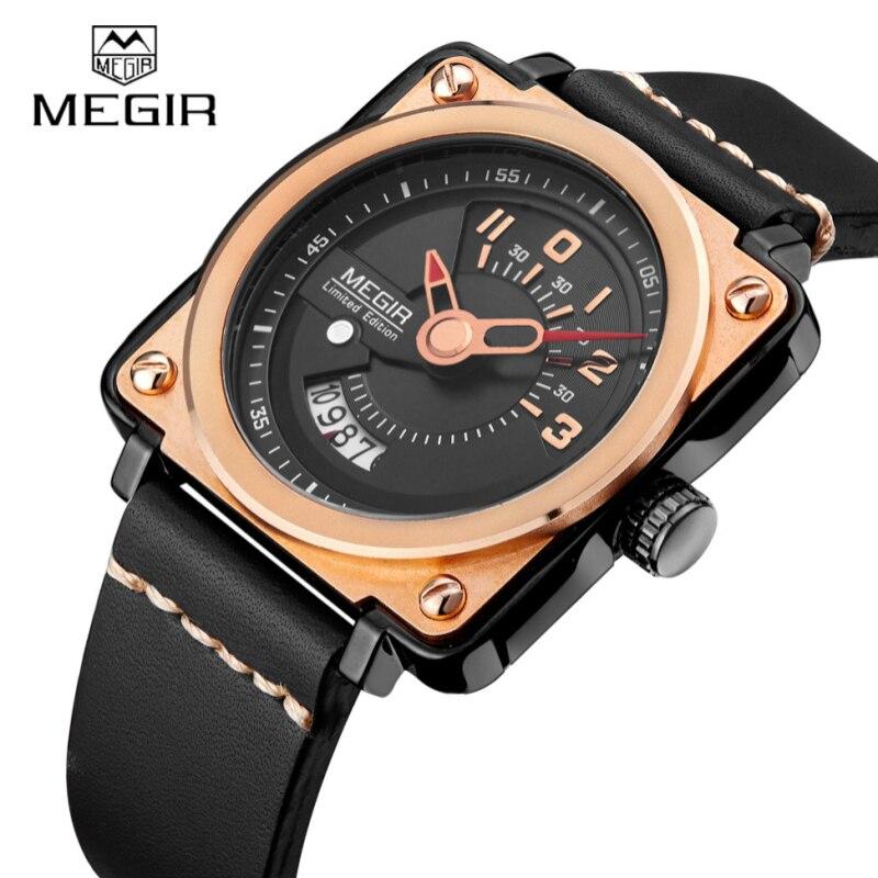 Top Luxury Brand Megir Mens Watches Square Watch Luxury Clock Sports Man Wristwatch Famous Brand Quartz Leather Watch For Men<br>
