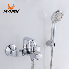 MYNAH Russia free shipping Bathroom Shower Faucet Bath Faucet Mixer Tap With Hand Shower Head Set Wall Mounted