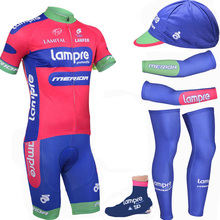 HOT LAMPRE Pro team bikewear cycling full short set sportswear cycling complete jersey with hat sleeves leg warmer shoes cover