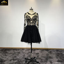 Surmount Customized Black Full Sleeves A-line Short Cocktail Dress Formal Dress Women feestjurken(China)