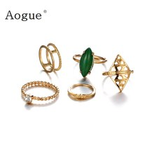 5 pieces Retro Boho Fawn Geometry crystal stone rings set Midi Finger Statement Joint Knuckle Nail Midi Ring Set(China)