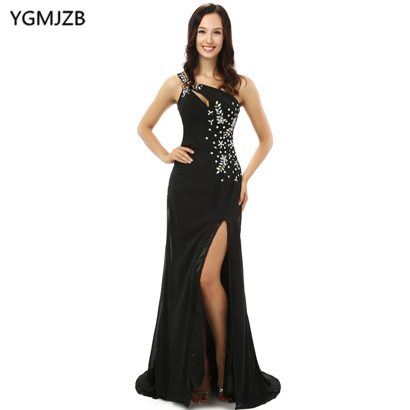 Black Mother Of The Bride Dresses 2018 Mermaid Side Slit Beaded Chiffon Long Evening Dress For Wedding Plus Size Mother Dresses