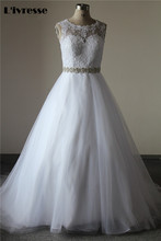 Real Pictures Appliques Crystal Sash  Tulee Floor Length Chapel Wedding Dress Bridal Dresses