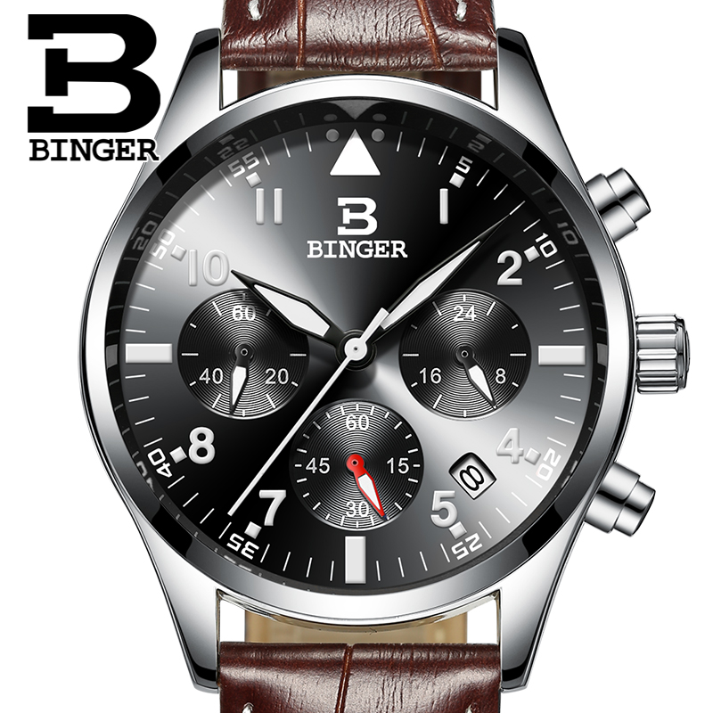 BINGER 2017 Men Watches Top Brand Luxury Business Waterproof Sport Chronograph Quartz Man Watch Male Clock reloj hombre Leather <br>