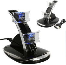 New LED Light Dual USB Powered Charging Dock Stand Holder Support Charger For Sony PlayStation 3 PS3 Controller Game Accessories