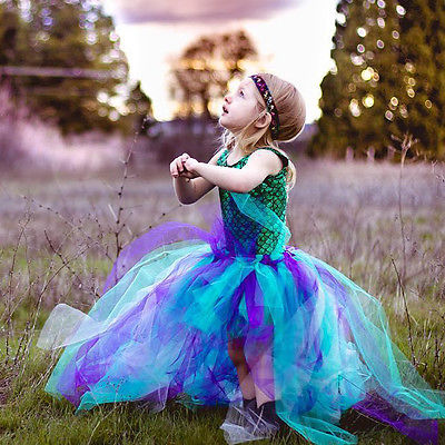 Party Kids Baby Girl Dress Mermaid Tops Bodysuit+Tulle Tutu dress Outfits Set<br><br>Aliexpress