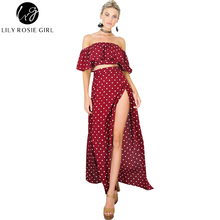 Lily Rosie Girl Women 2017 Off Shoulder Empire Dot Loose Summer Maxi Dress Slash Neck Short Sleeve Sexy Beach Dresses Vestidos
