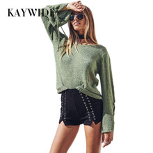 KAYWIDE 2017 Autumn New Women Tops Series Knitted Lace Up Flare Sleeve High Street T-Shirt Ladies Basic Harajuku Casual Top Tees