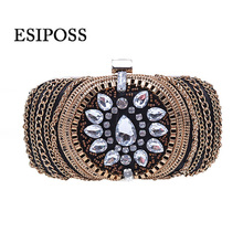 High-grade gemstone diamond-studded evening clutch bag rhinestone party bag chain bag women handbag shoulder bag messenger purse(China)