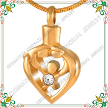 CMJ9211 Mother Father And Child Heart hollow pendant cremation urn jewelry necklace 24k charms Charms keepsake urns