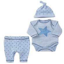 Baby Boy Clothes Sky Blue Pentacle Striped Infant Clothing long Seeve Romper+pants+hat Baby Romper Boutique Kids ClothingT4383(China)