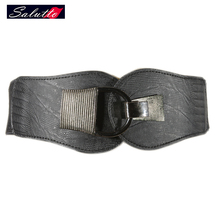 2016 New Belt Decorative Elastic Belts for Women Metal twist Wide Fashion Waistband Elastic Belt color Black