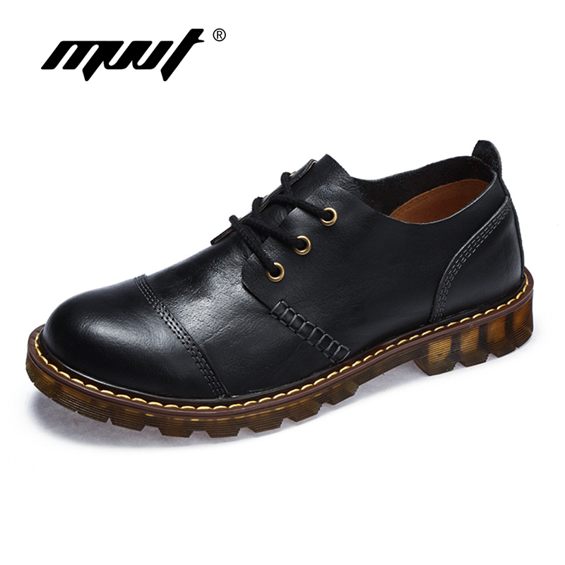 New Fashion Men shoes Genuine Leather Casual Shoes Lace-Up Oxford Shoes Men Flats Business Boots Leather shoes<br>