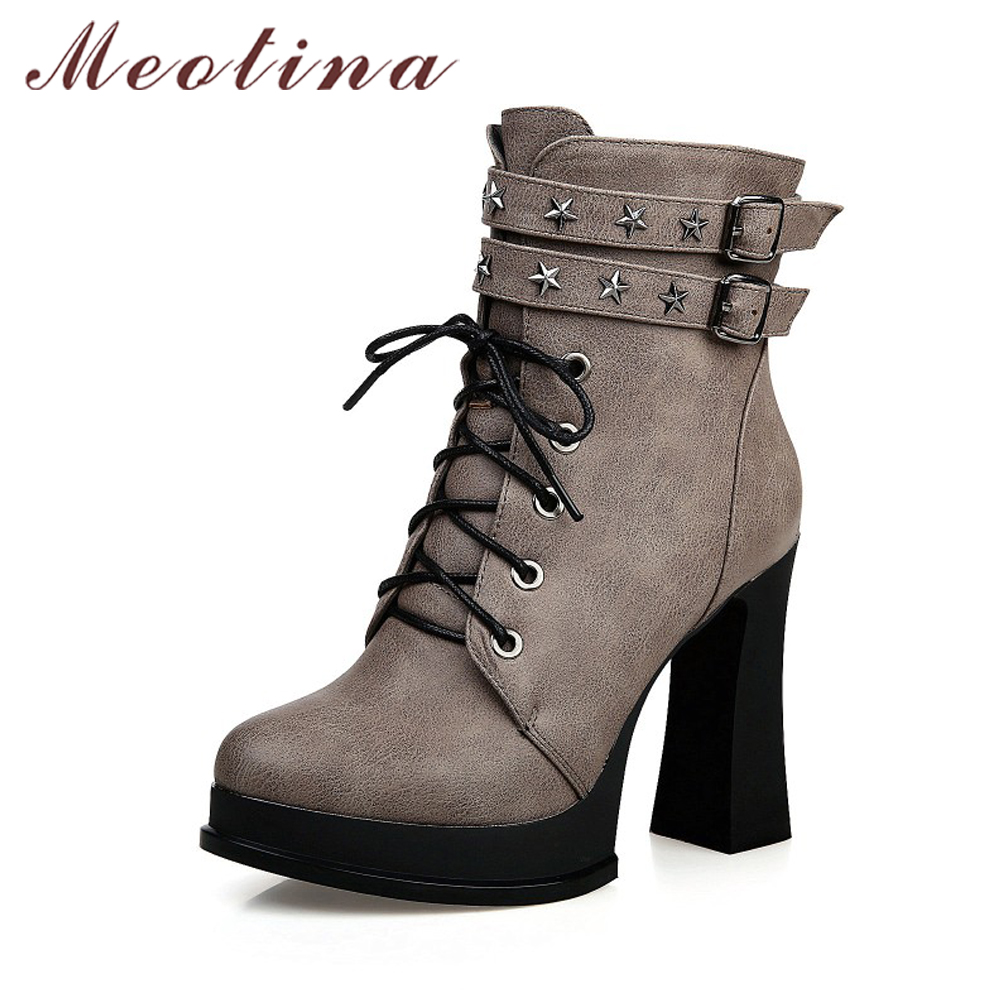 Meotina Punk Women Platform Boots Winter Motorcycle Boots Buckle High Heel Ankle Boots Zip Autumn Lace Up Rivets Shoes New 34-43<br>
