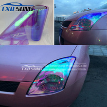 30CM*100CM/LOT Chameleon Transparent Car Headlight Changing Film 11 Colors chameleon Headlight tint film By Free Shipping(China)