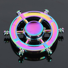 Captain Steering wheel Rainbow Fidget Spinner Metal Tri EDC Hand Finger Spinner Focus Anxiety Relief Stress Gift Toys Kids