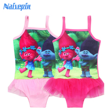 Girl's Swimsuit Cartoon Trolls Printed One Piece Swim wear Kids clothes dress Baby Girl Beach Wears dresses Summer Clothing(China)