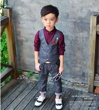 In Stock New Baby Suit Vest + Trousers boy Blazers Sets Children Garment 2-10T Child Clothing Set 2Pieces Baby Costume(China)