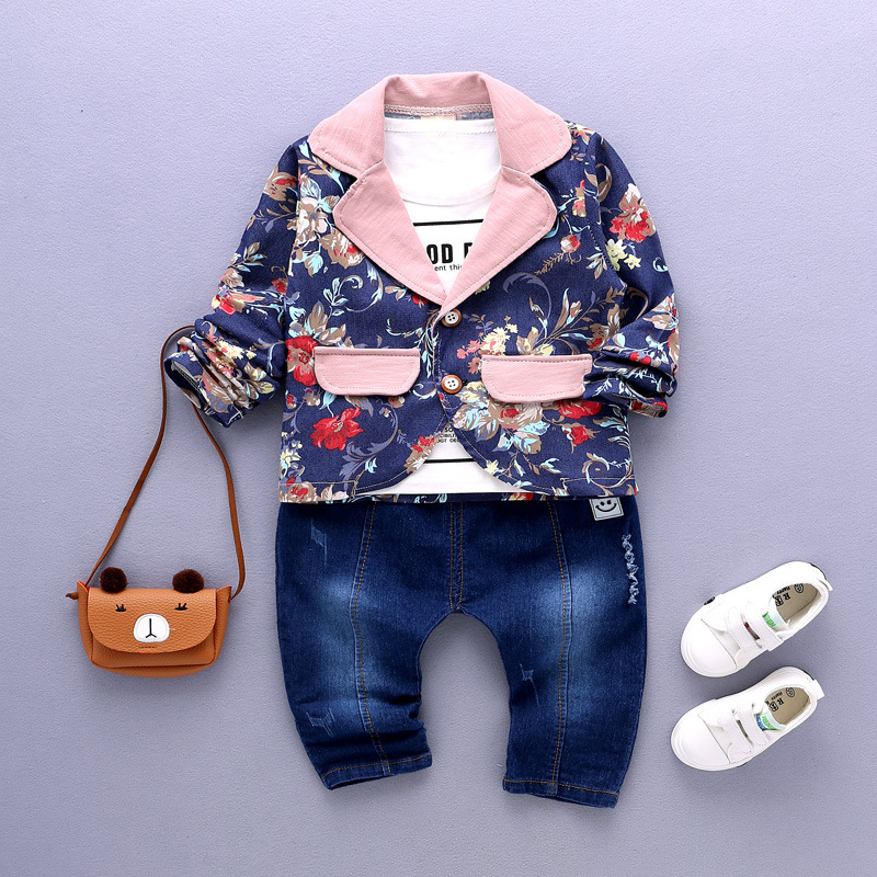 Fashion boy girl long suit South Korea flower jacket t-shirts jeans children set in the 1-2-3-4 year 3 piece of trend<br><br>Aliexpress