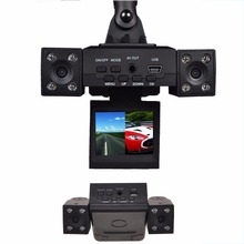 New Car DVR Camera with 8 LED IR Night Vision Dual Cameras 2.0 inch TFT LCD Rotary Screen and Rotary Lens Car Video Recorder(China)