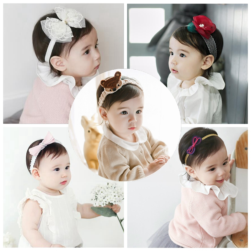 Baby Girl Hair Bow Christmas Holiday Red Chiffon Flower Pearl Newborn Headband