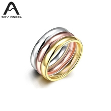 SkyAngel 3pcs fashion rings for women 2017 new Stainless Steel ring women gold wedding jewelry for Girls party Shop Suppliers
