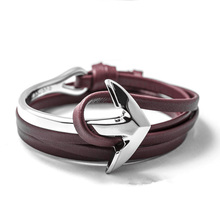 LIVVY 2016 new charm man bracelet with high quality leather bracelets multilayer friendship anchor bracelet  leather bracelet