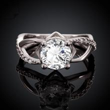 Ring Inlaid Crystal Ring Romantic Styles Ring For Glamor Women Jewelry Wholesale Free Shipping  amve LKZCR050-C