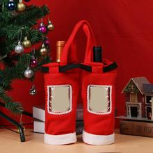 Christmas Gift Treat Candy Wine Bottle Bag Santa Claus Suspender Pants Trousers Decor Christmas Gift Bags(China)