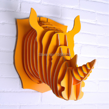 European-style wooden African rhino animal heads hanging,home,clubs,theme restaurants,shops decoration,creative cute ornaments(China)