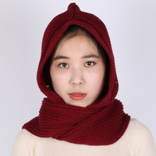 2017 Hooded Scarf Multifunction Winter Wool Knitted Solid Color Soft Comfortable Thick Handmade Scarves For Women European style(China)