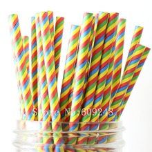 100pcs Colorful Rainbow Striped Paper Straws Bulk,Circus Summer Wedding Baby Shower Birthday Party,Colored Drinking Paper Straws