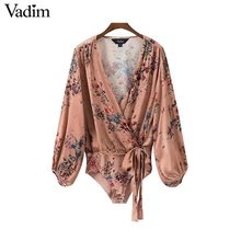 Vadim vintage bow tie floral bodysuits long lantern sleeve rompers elastic waist retro ladies fashion casual playsuits KZ1061(China)