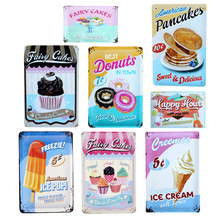 American Ice Pop Tin Signs Ice Cream Pancakes Metal Poster For Bar Cake Candy Shop Bakery Home Wall Decor Vintage Plaque YN002(China)