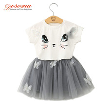 Girls Clothing Sets Summer Style Cartoon Kitty Printed Cotton T-Shirts With Lace Sequined+Tutu Butterfly Skirt 2Pcs Kids Clothes
