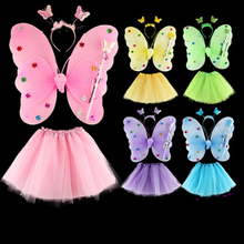 Halloween Butterfly Wings Costume Pixie Girl Dress Clothes Princess Angel Headdress Skirt Stage Performance Wear Magic Wand
