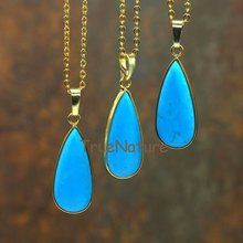 Wholesale Gold Finish Chains Copper Jewelry Turquoises Water Drop Pendant Charm Necklace For Women In 16-32 Inch NM5774(China)