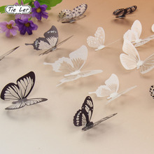 TIE LER 18PCS/set 3D Crystal Butterflies DIY Home Decor Wall Stickers for Kids Room Christmas Party Decoration Decal(China)