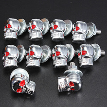10pcs/lot Motorcycle Chrome Skull Windshield License Number Plate Frame Screw Bolt