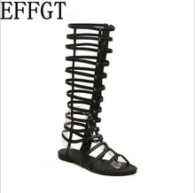 EFFGT 2017 summer new Europe and the United States star Roman hollow-out peep-toe high flat cool boots female sandals C600