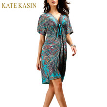 Kate Kasin Boho Summer Women Dress Sexy Sundresses Deep V Ethnic Floral Print Tunic Beach Dresses Robe Sexy Casual Silk Dress(China)