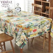 Null new cotton and linen color stitching pattern tablecloth custom TV cabinet coffee table a few hundred tablecloths