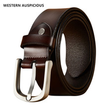 WESTERN AUSPICIOUS Men Belts With Quality Alloy Buckle Cowskin Leather Male Cinture Length 105-125CM