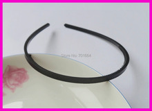 20PCS 5mm Black Plain Plastic Hair Headbands with teeth for line or wrapping fabric,Teethed black plastic hairbands wholesale