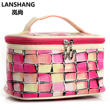 Colour Plaid Big Cosmetic Bag Women Waterproof Professional Toiletry Kit Wash Necessaire Travel Organizer Make up Bags CQ138