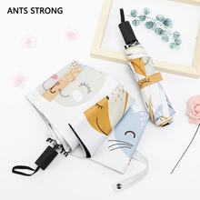 ANTS STRONG Cartoon fox vinyl three folding umbrella/Windproof reinforcement of women's umbrellas(China)
